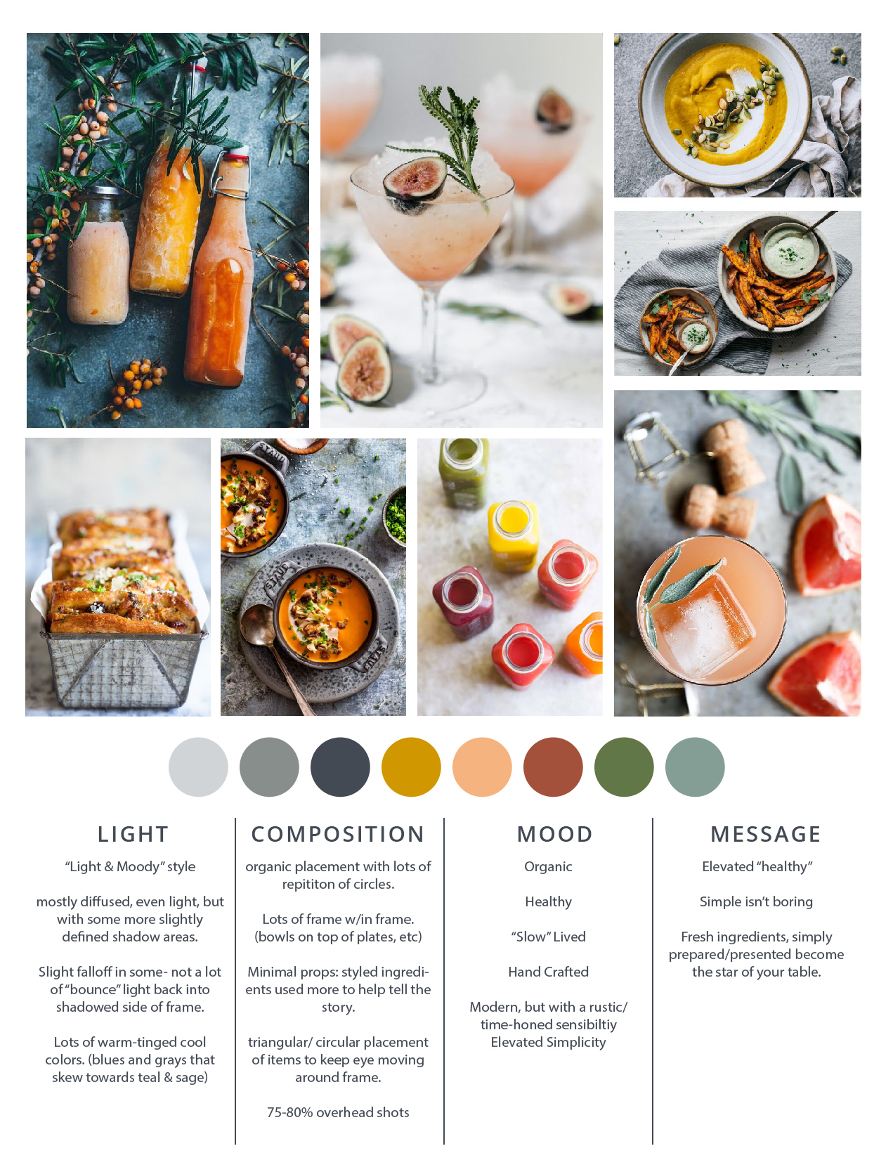 If you want to create a signature visual voice/ aesthetic for your food or wellness brand, start by creating a guide or moodboard you can refer to. It's especially helpful for creating a branded look on Instagram and can inform your colors, lighting, mood and overall style.