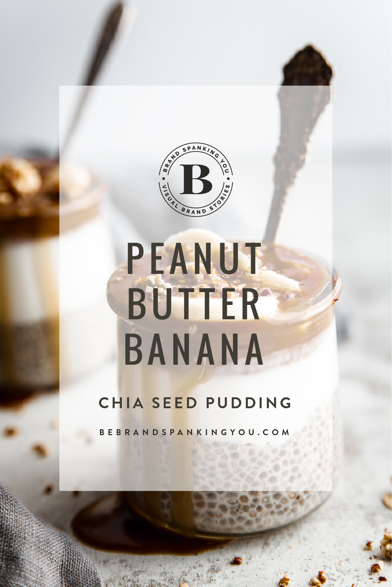 Chia seed pudding with peanut butter caramel sauce and bananas.