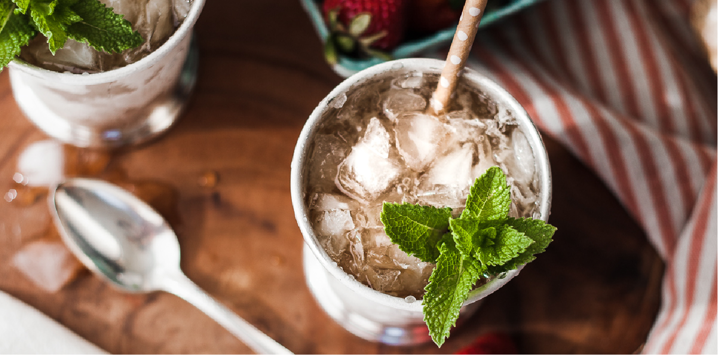A springtime, kentucky derby favorite: Mint julep. Updated with strawberries and ginger