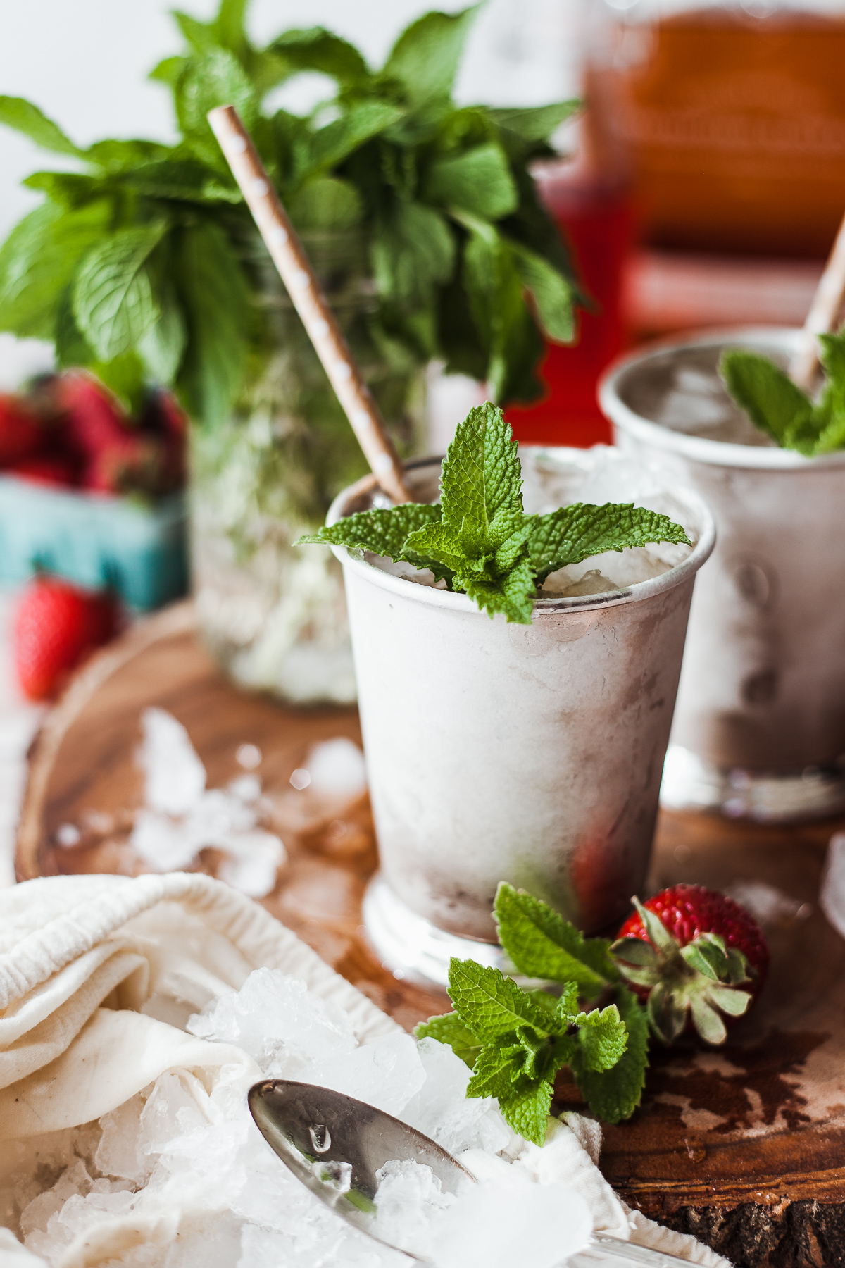 Strawberries and ginger update the traditional mint julep in this perfect for spring cocktail