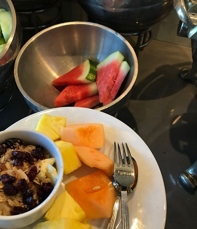 Staying at a Marriott & this was the scene in the concierge lounge. Yup, it stayed right in that bowl. #watermelon #forbiddenfruit #ontherind #stayedinthebowl