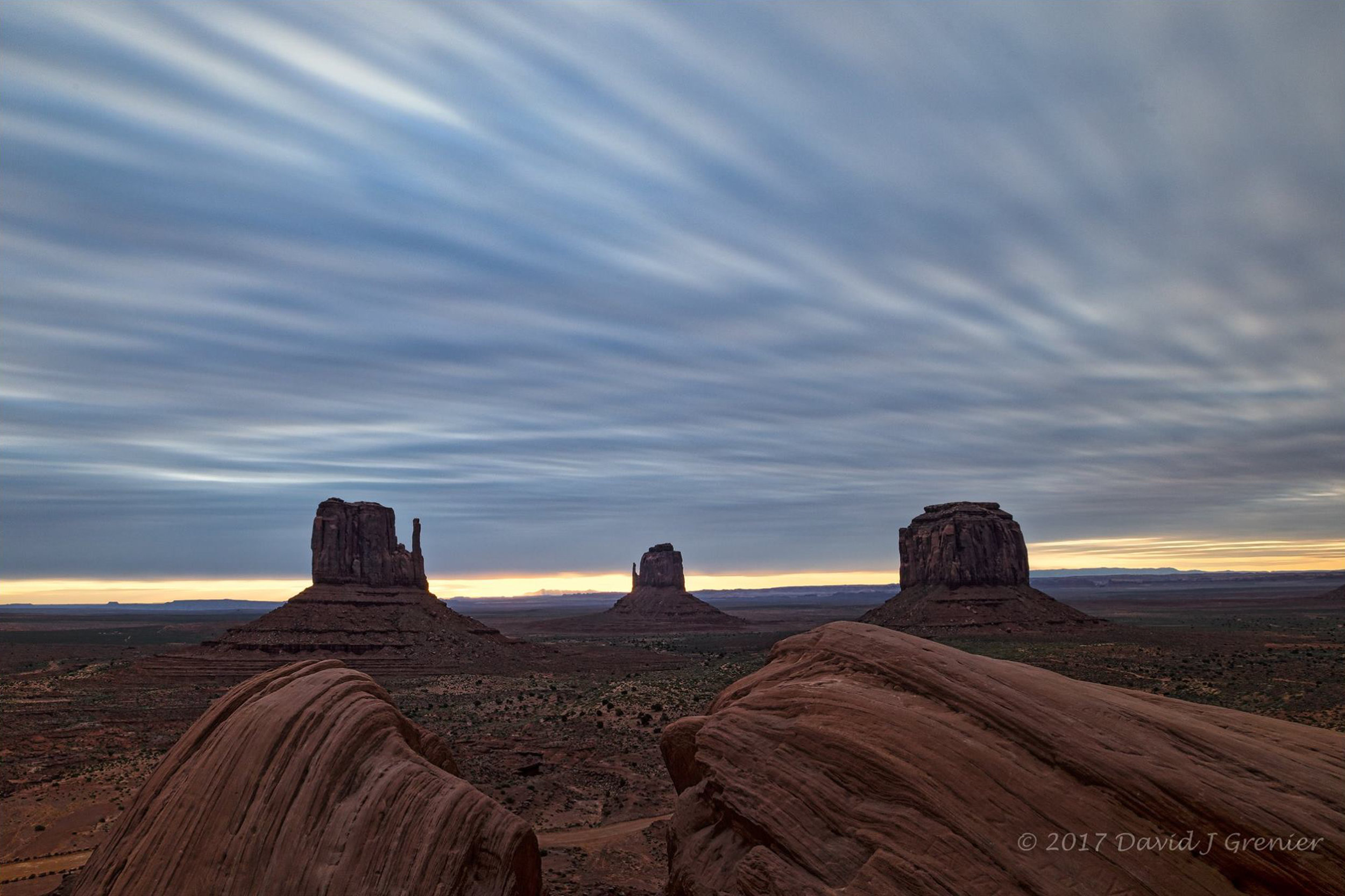 May 1, 2017, Monument Valley, AZ; exp. 121.0 secs (10 stop filter) @ f/11; 16-35mm lens @ 18mm; ISO 160