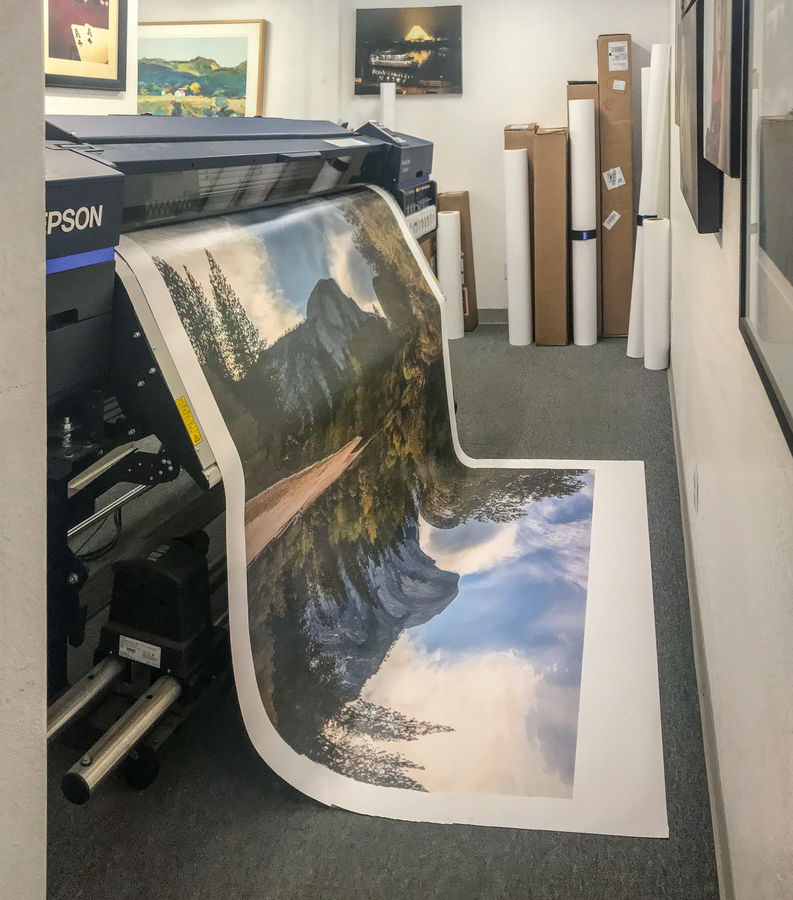 The canvas print emerges out of the printer.
