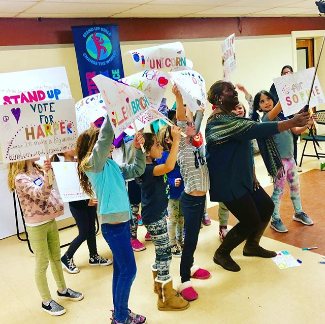 Vote for me and here's why! Lawn signs created by Stand Up Girls. Thank you to our amazing guests for sharing your experience and wisdom and making a forever impression on these girls #vote @alexandrabcarter