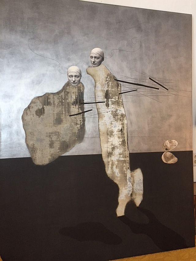 "KS-14 ""Ruth and Esther"" by Walterio Iraheta (Salvadoran 1968 - ). Mixed media on canvas. 2006. 46"" x 59"". $5500"