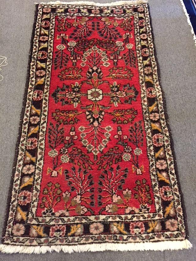 WS-404 Persian Sarouk, hand-tied rug. 1970's. 32 x 62. $315
