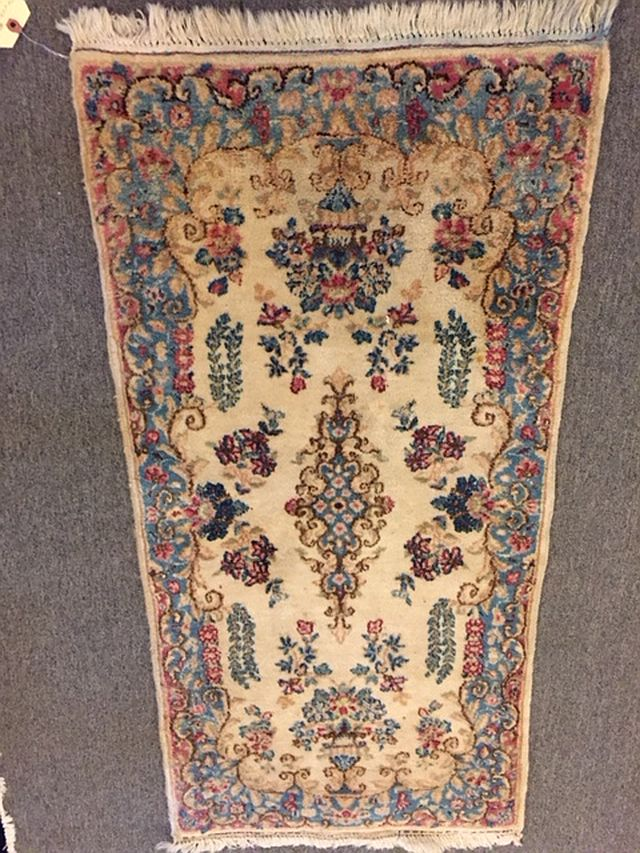 "WS-405 Persian, Kerman, hand-tied rug. 1930/40's. 24"" x 48"". $160"