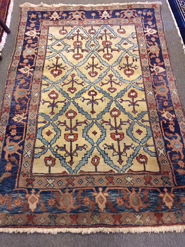WS-409 Turkish Anatolian, hand-tied rug. 1940's. 34 x 32. $80