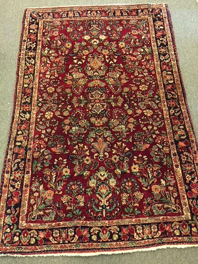 "WS-413 Persian, Sarouk, hand-tied rug. Circa 1930's/40's. 38"" x 59"". $390"