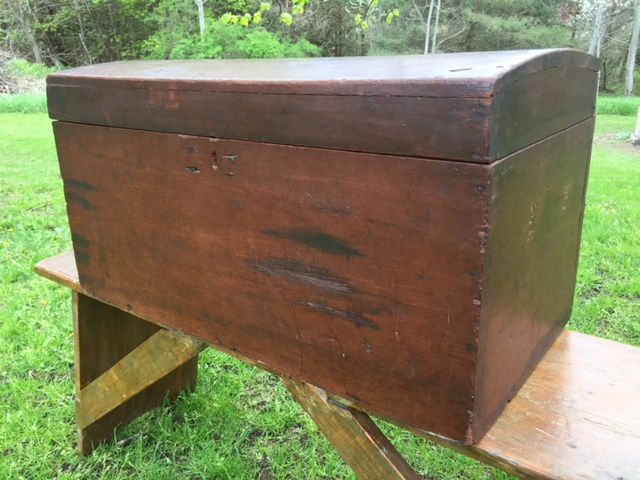 "2192011 Cherry, Hump-back Trunk. Old reddish paint. Signed ""S & H"". Circa 1850. 27""L x 13.5""D x 14.5""H. $375"