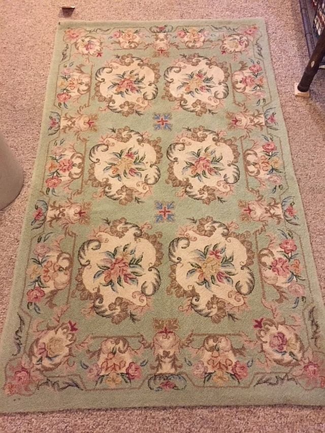 """WS-427 Japanese Needle Point Rug. Wool. 1960/70's. 34"""" x 57"""". $165"""