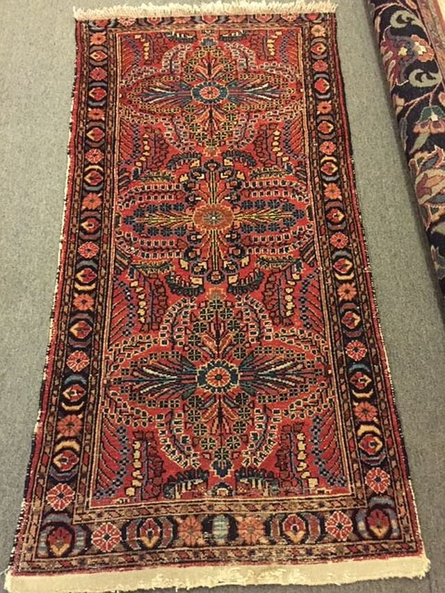 WS-429 Persian Sarouk, hand-tied rug. 1930's. One end repaired. 29 x 58. $370
