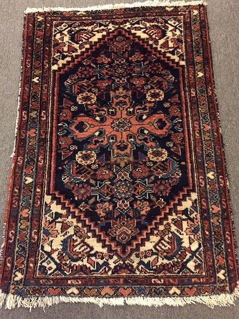 WS-431 Persian Bijal, hand-tied rug. Hearts in border. Circa 1930. 29x43. $195