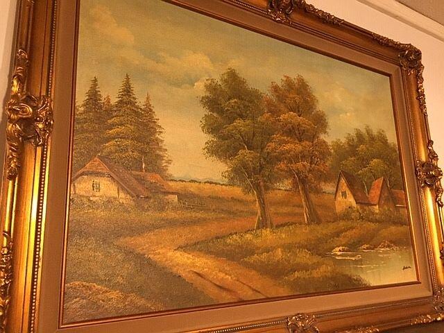 "2192015 Oil on Canvas of Country Home Scene. Artist signed: Alldren. Image: 36"" x 24"". Frame: 43"" x 31.5"". $285"