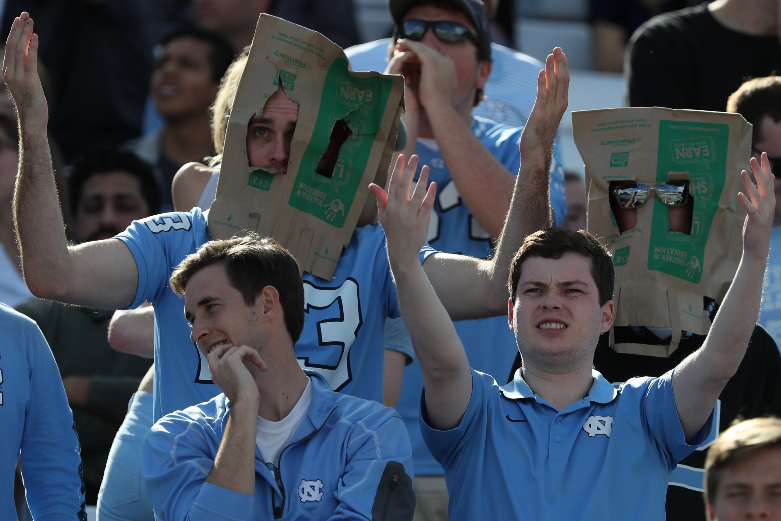 UNC fans react to a pass interference call during Saturday's game at Kenan Memorial Stadium in Chapel Hill, NC on October 28, 2017. The Hurricanes beat the Tar Heels 24 to 19.