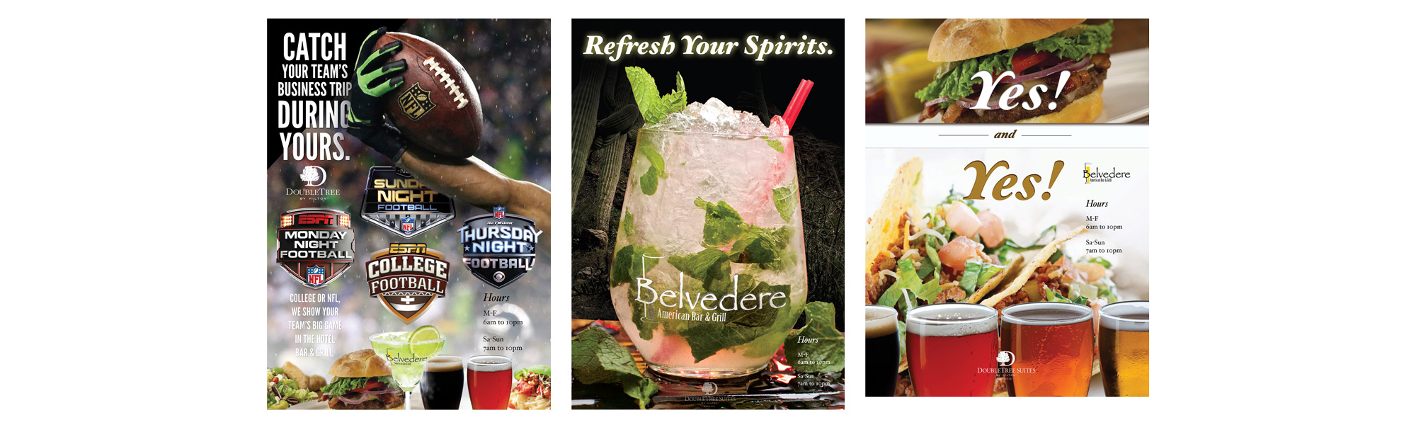 DoubleTree Hotels, Phoenix  3 poster set for on-site restraunt marketing