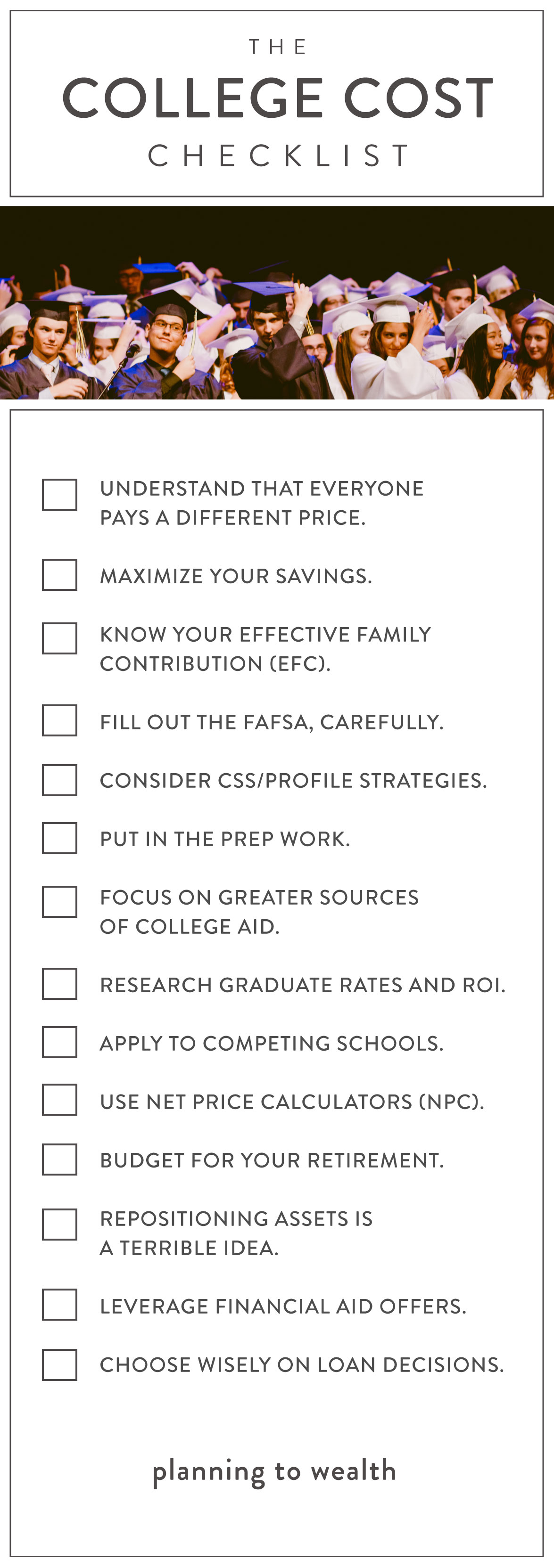 Lower Cost of College Tips Checklist