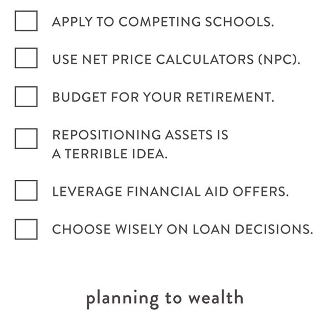 Think of all the ways to save  money and strategize for college — beyond the #529plan. Get the full checklist on planningtowealth.com #checklist #checklist✔️ #collegestudents #payingforcollege