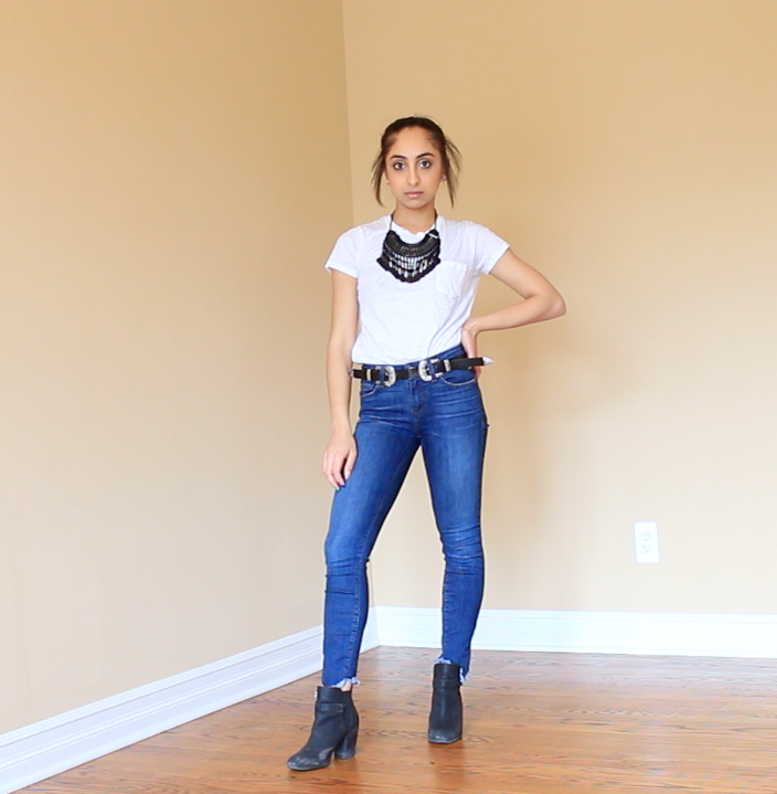 For this outfit, I added all black accessories for a cool chic look. My all black coin necklace is from Boho Queen Jewelry, my double buckle belt is from Amazon, and my booties are from Nordstrom Rack. All black everything is a no-brainer!