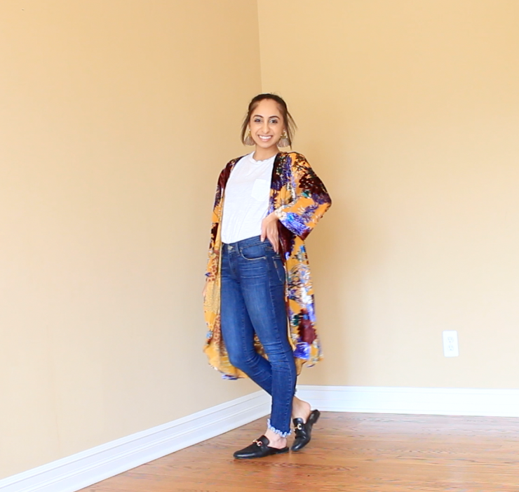 For this look, I added this beautiful cardigan from Free People that added color and texture. I kept the shoes neutral so that they wouldn't clash with the kimono, which are from Steve Madden. To add to the fun, I added these fringe earrings from Steve Madden.