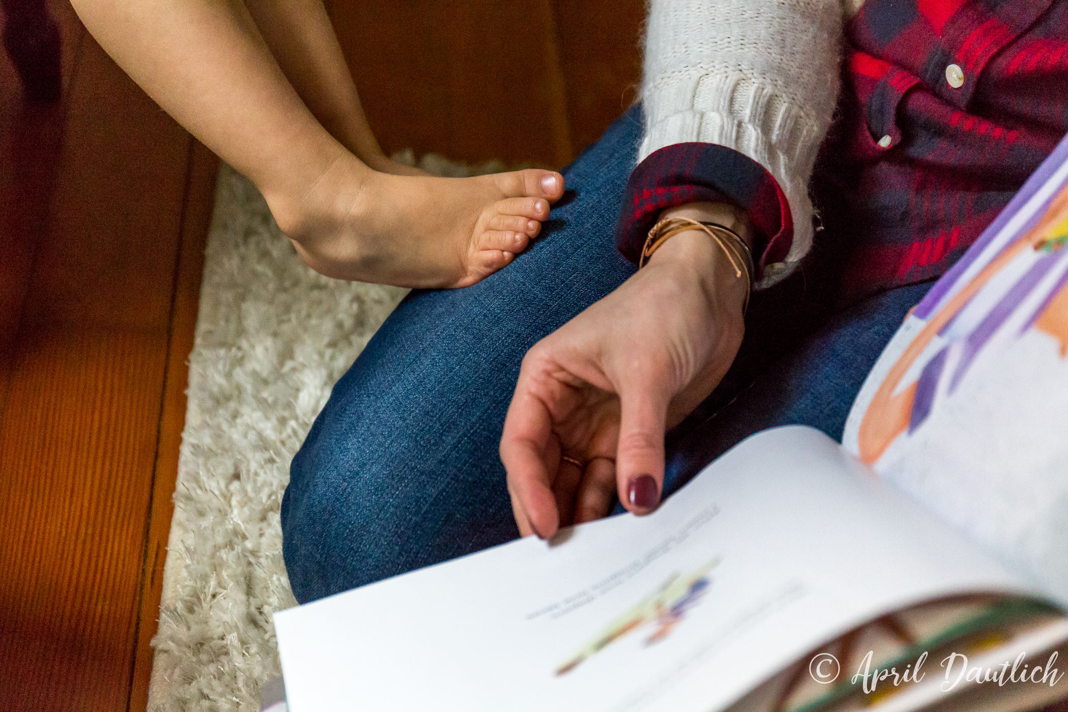 """""""The photographs definitely helped me to show gratitude for what we are blessed with in our lives. It has been a difficult year for our family and we can often lose perspective. I see the photo of those little feet on my leg while reading one of Lachie's favorite books and I feel very blessed."""""""