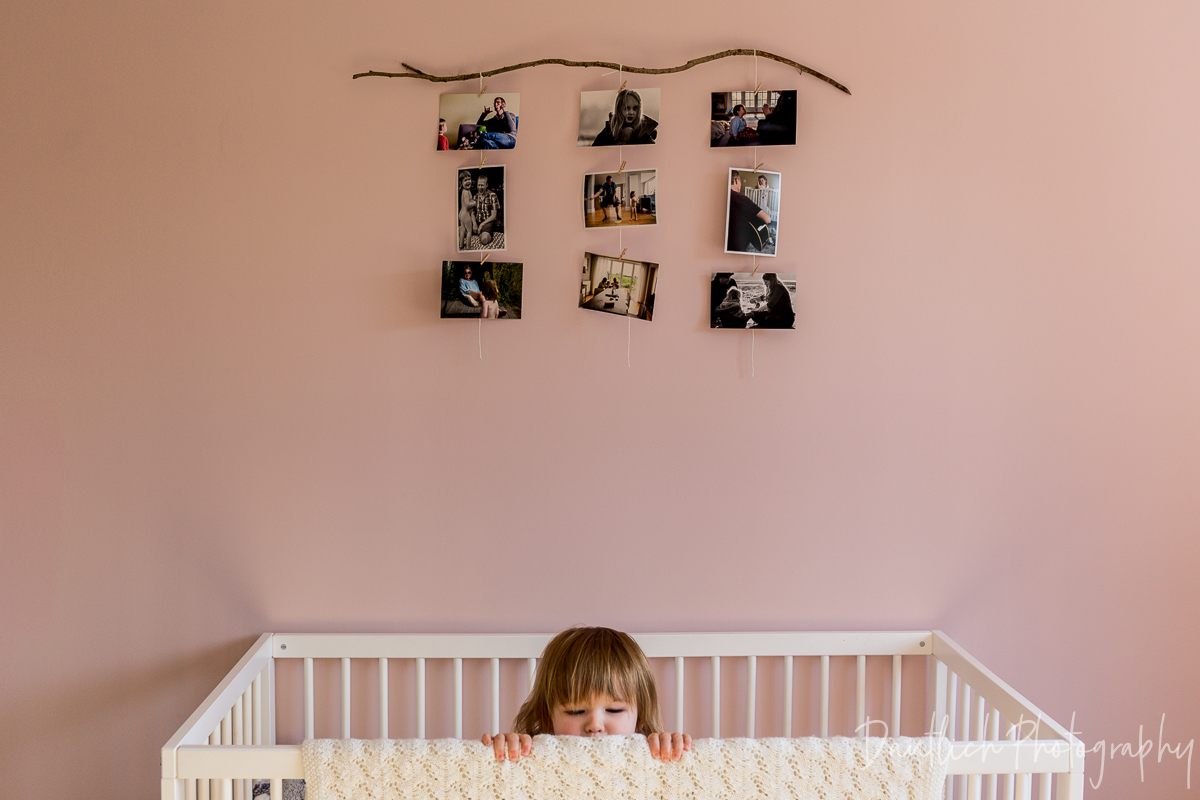 Hazel's photo display in her newly decorated room.