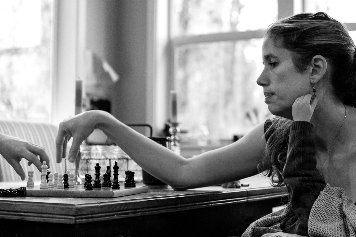 Mom playing chess