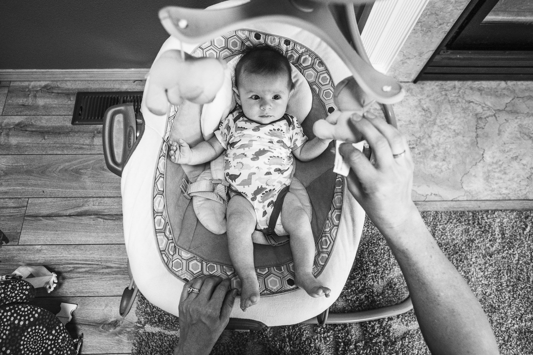 Baby photo in bouncy chair