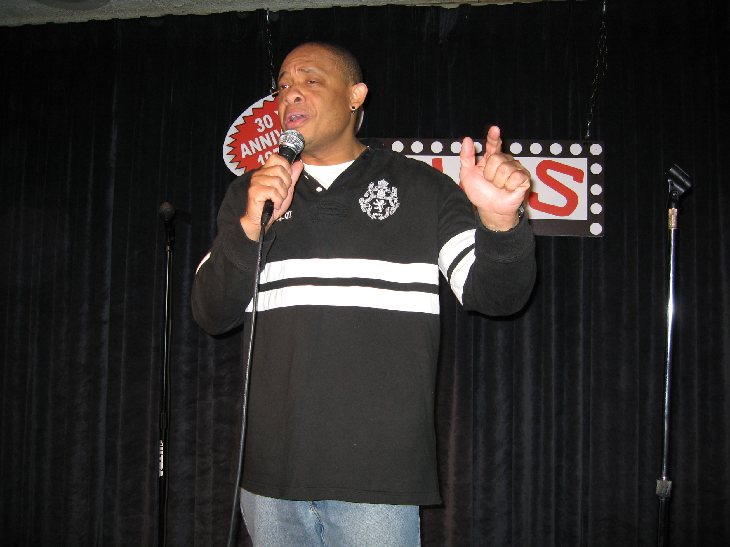 On stage at Zanies on Wells