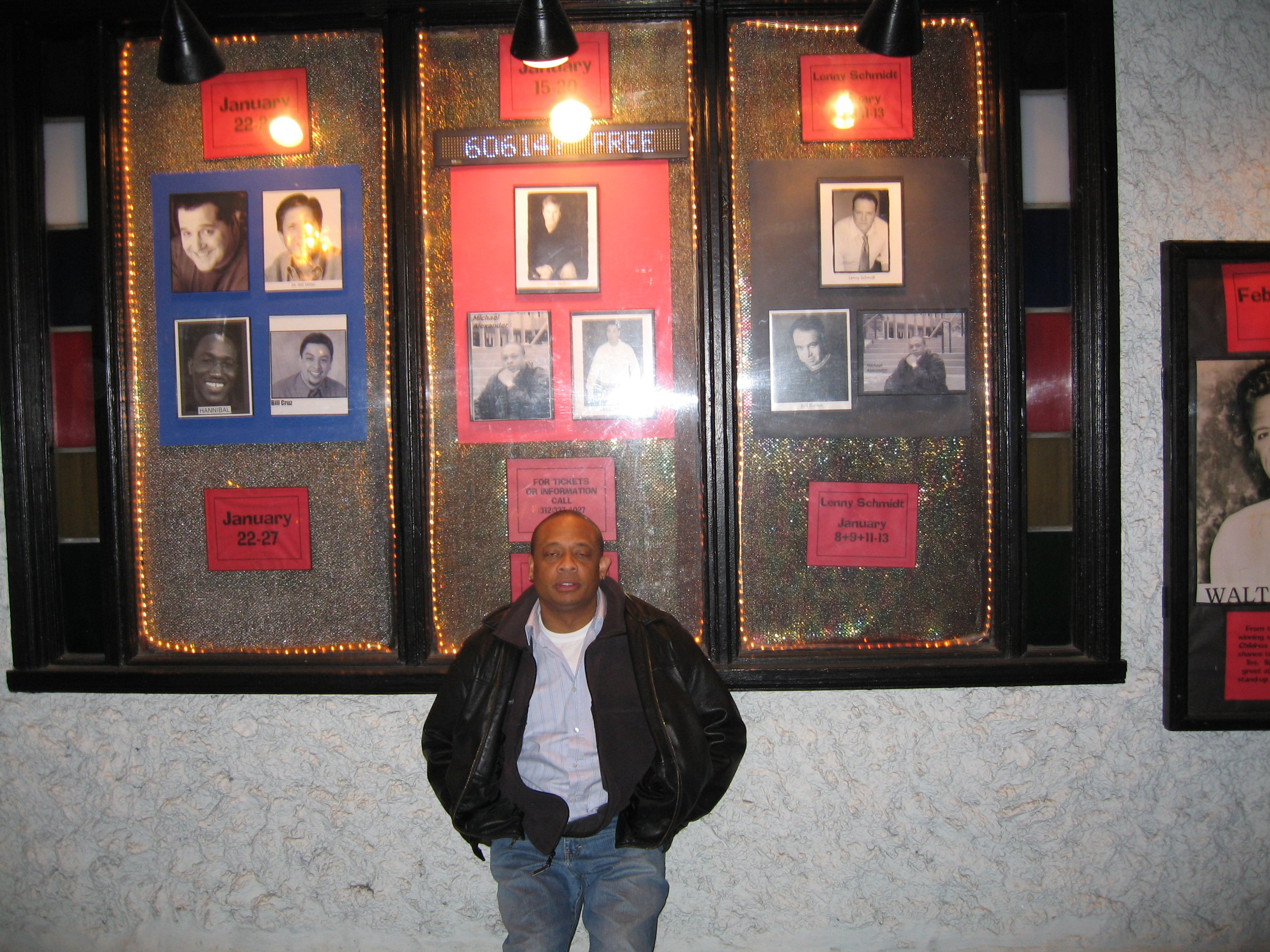 Michael, either drunk or drugged by Bill Cosby, in front of Zanies on Wells 2008