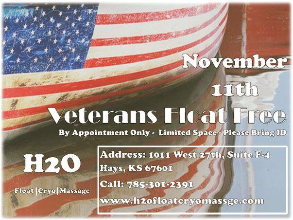 We Love Our Vets! - On Veteran's Day,Veterans were provided with a free float session in honor of their service. It is just a small token of appreciation for all of the hard work that our Vets do!