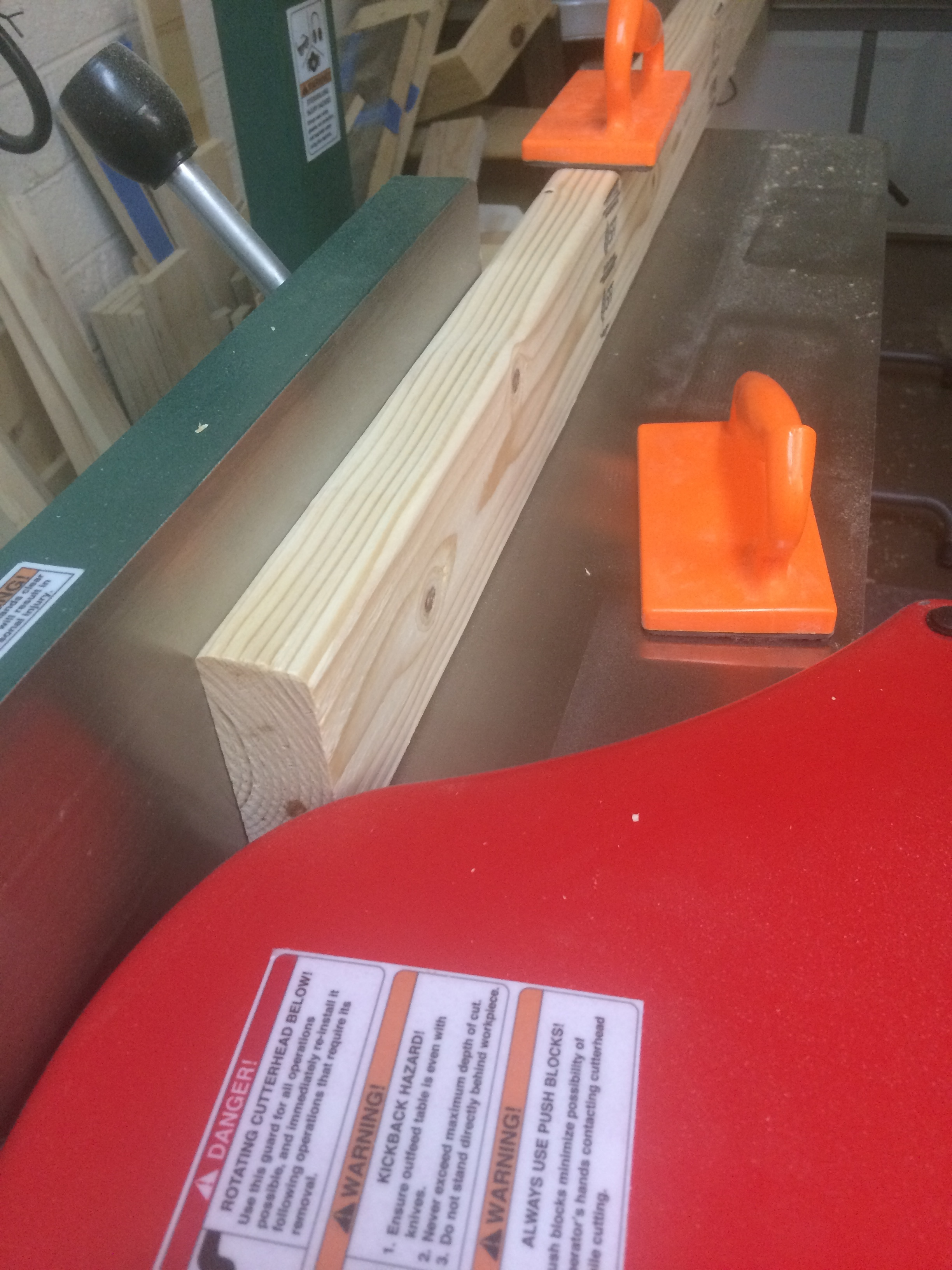 Edge plane on the jointer.