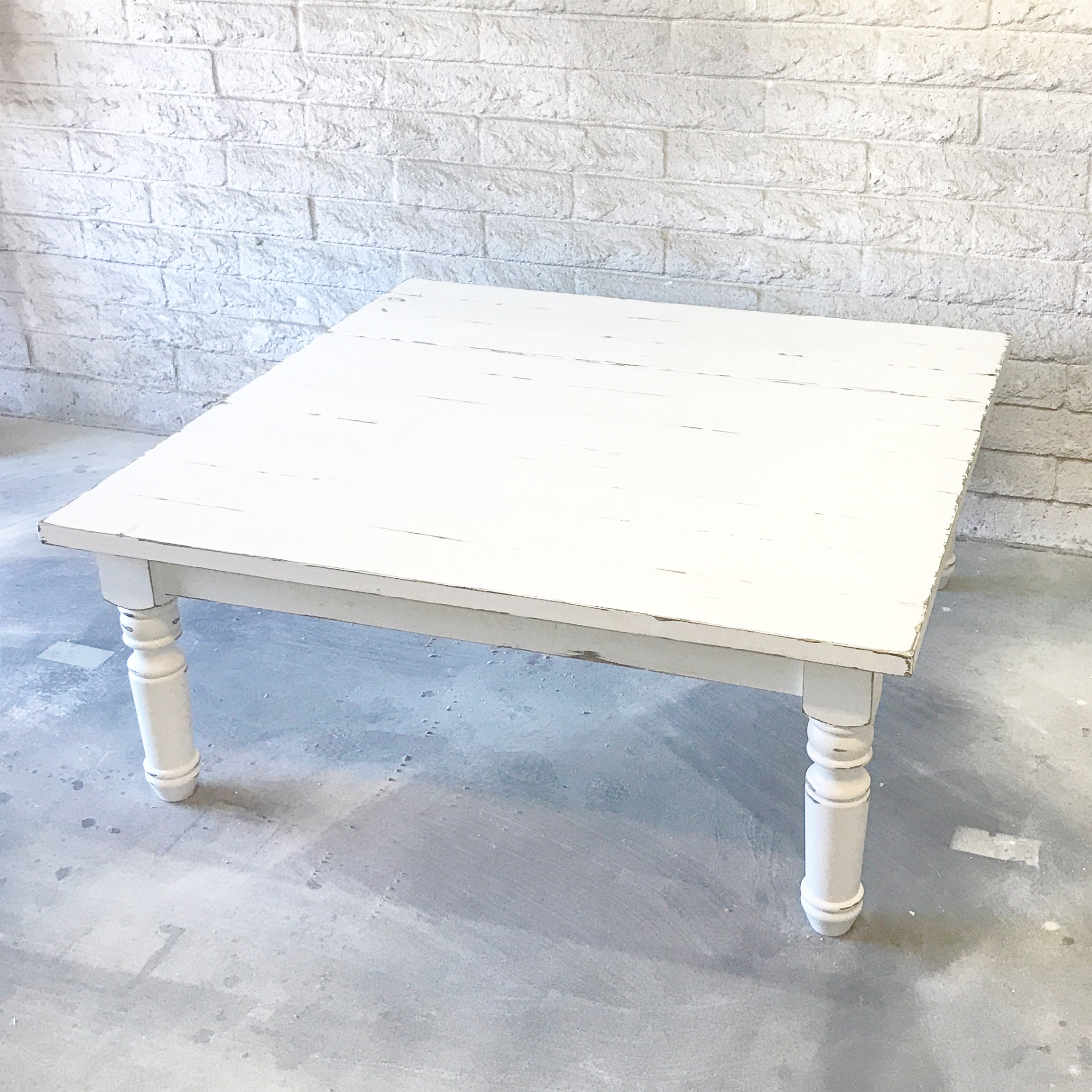 All White Farmhouse Coffee Table