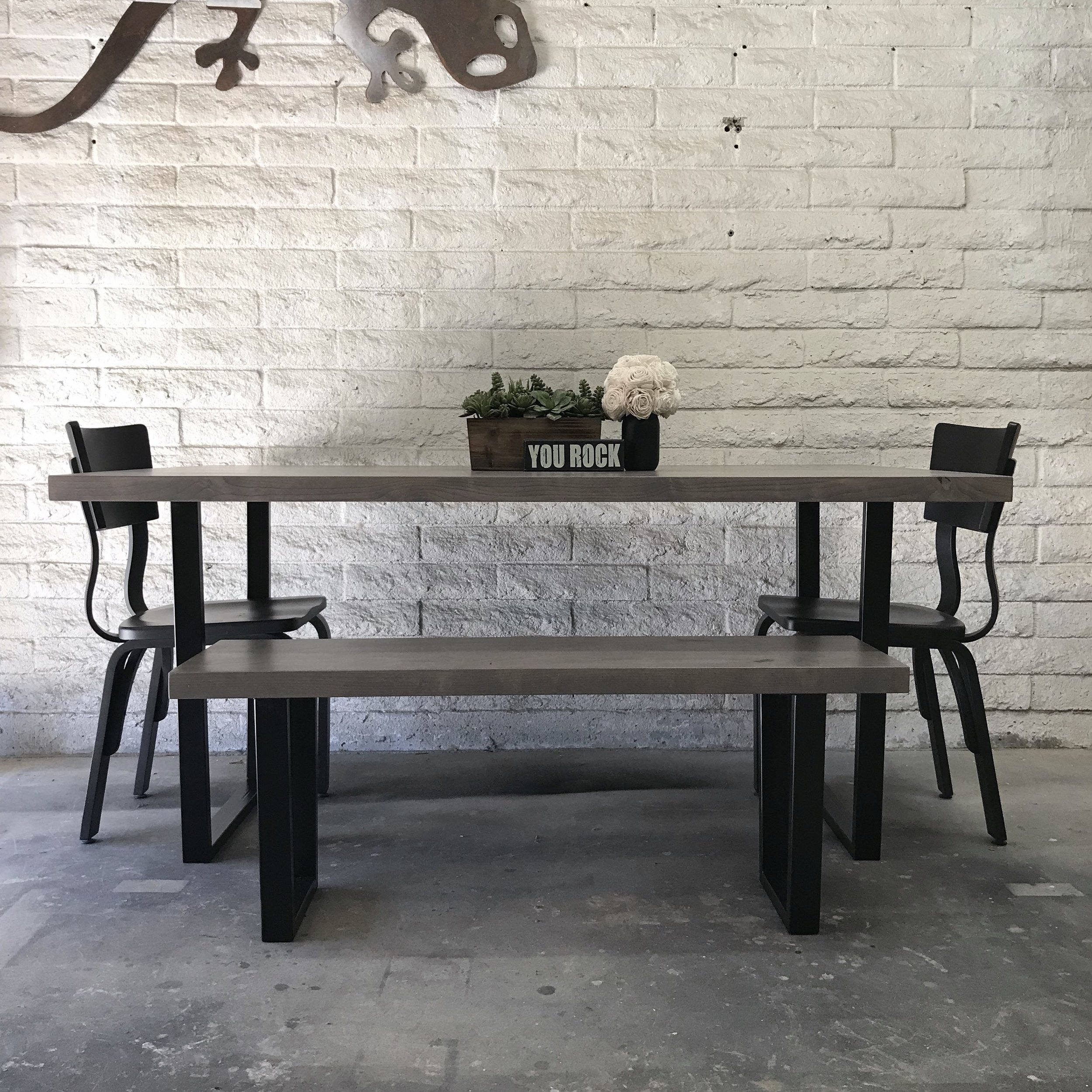 Knotty Alder and Metal Dining Set