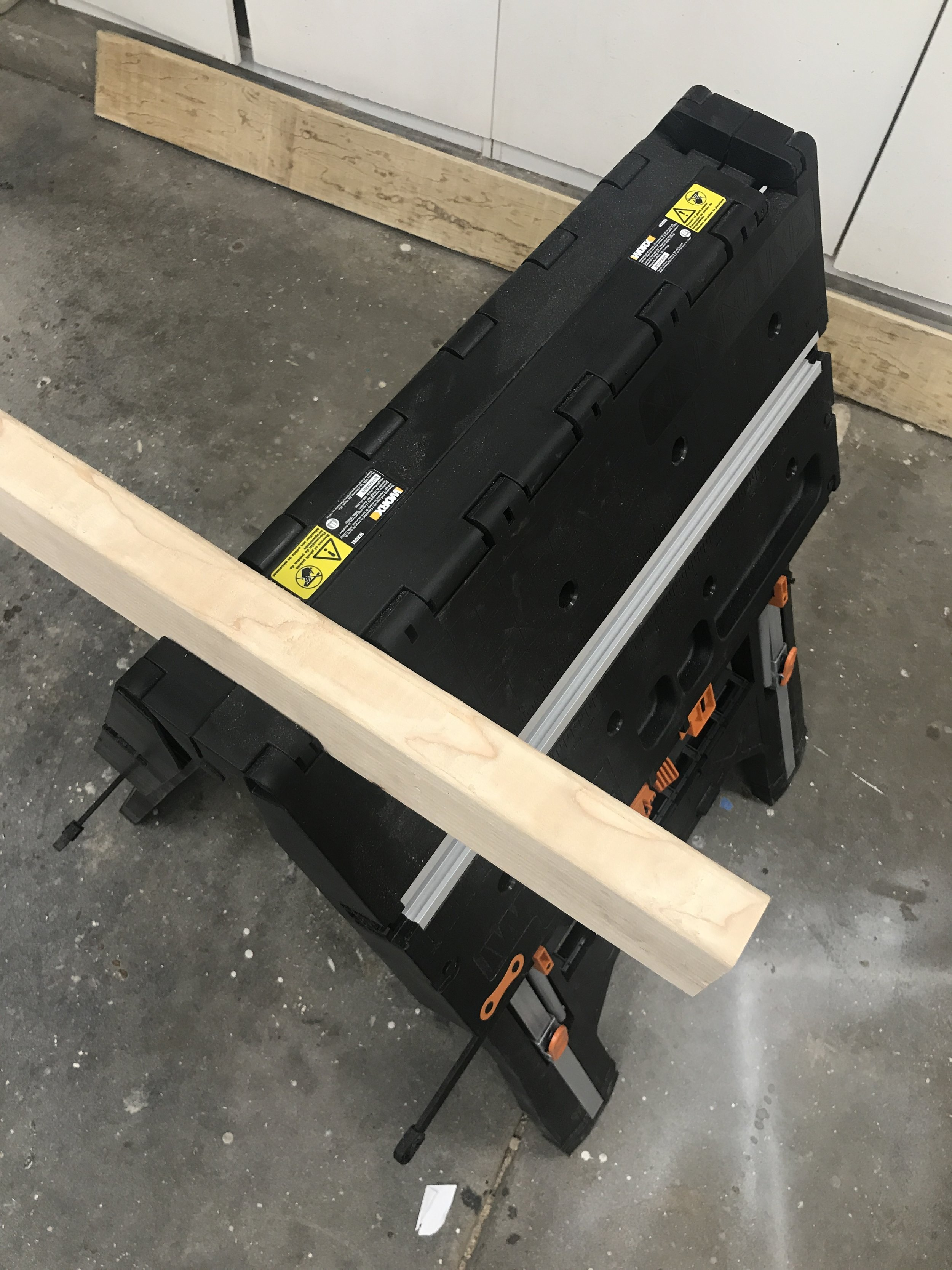 A 2x4 fits perfectly into the top when the support wings/flaps are down. Another great way to join to of The Pegusus' to create an even larger work surface.