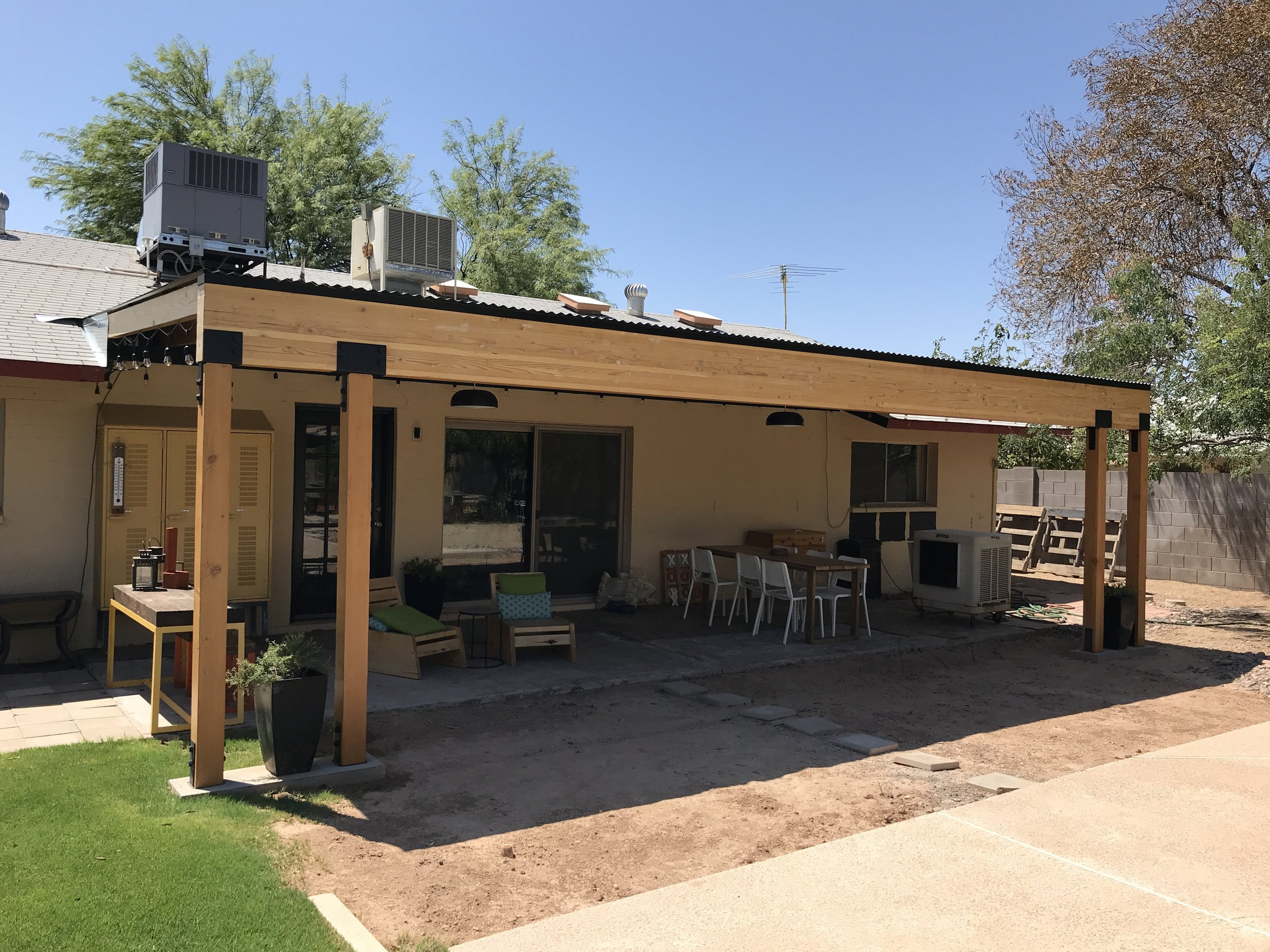 Building A Covered Patio With A 30ft Span The Awesome Orange
