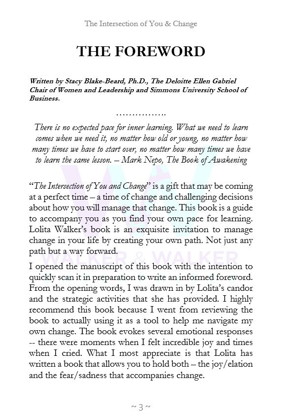 Foreward  to The Intersection of You and Change by Lolita E. Walker written by Dr. Stacy Blake Beard page 1.JPG