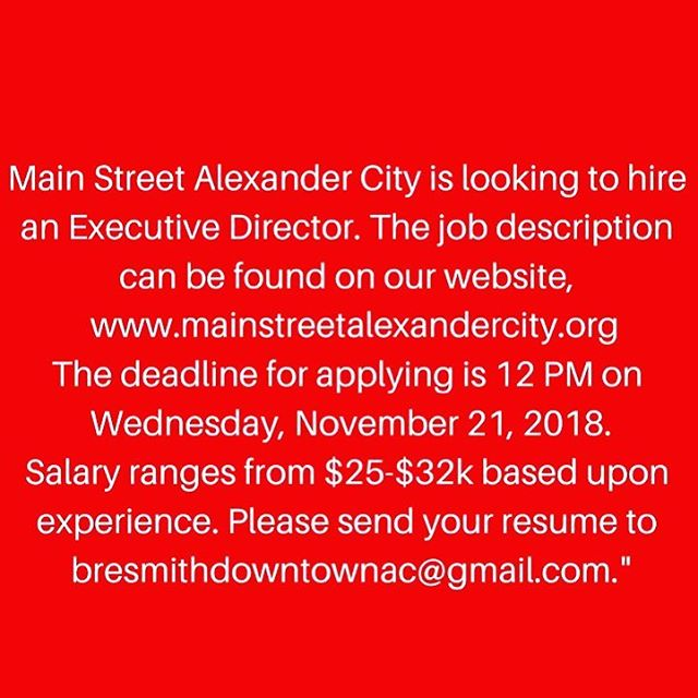 Just a reminder! You have until the 21st to get@your resumes in at Main Street. Please read the job requirements on our website & apply today! #mainstreetac #downtown #alexcity