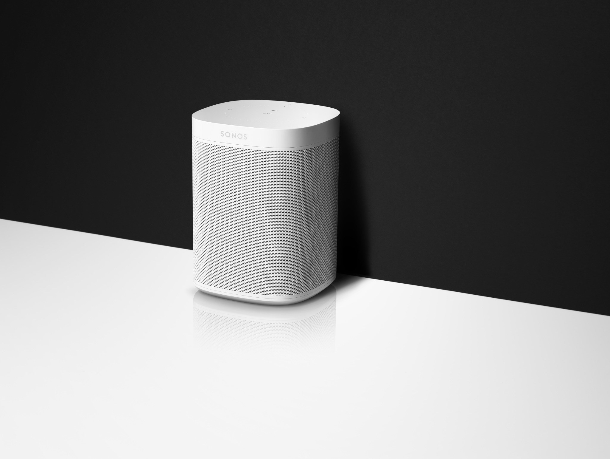 SONOS ONE White on Black White background Home Audio Systems Voice Control