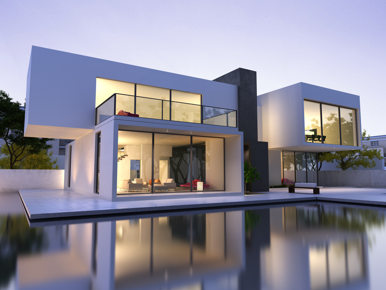 Modern_Home_Glass_windows_contemporary_architecture_sunset_purple_haze_infinity_pool_mood_lighting