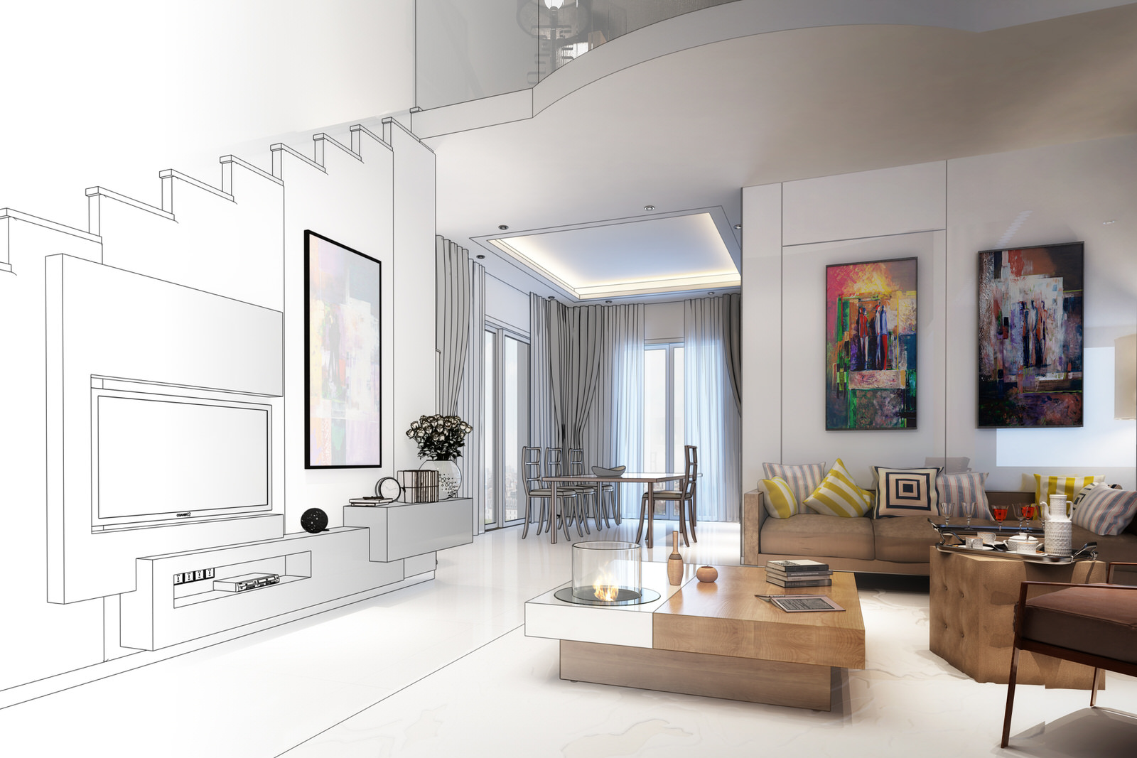 Contemporary_Modern_Apartment_Interior_Design_Wall_Mounted_Television_bespoke_joinery_Sketch_photograph
