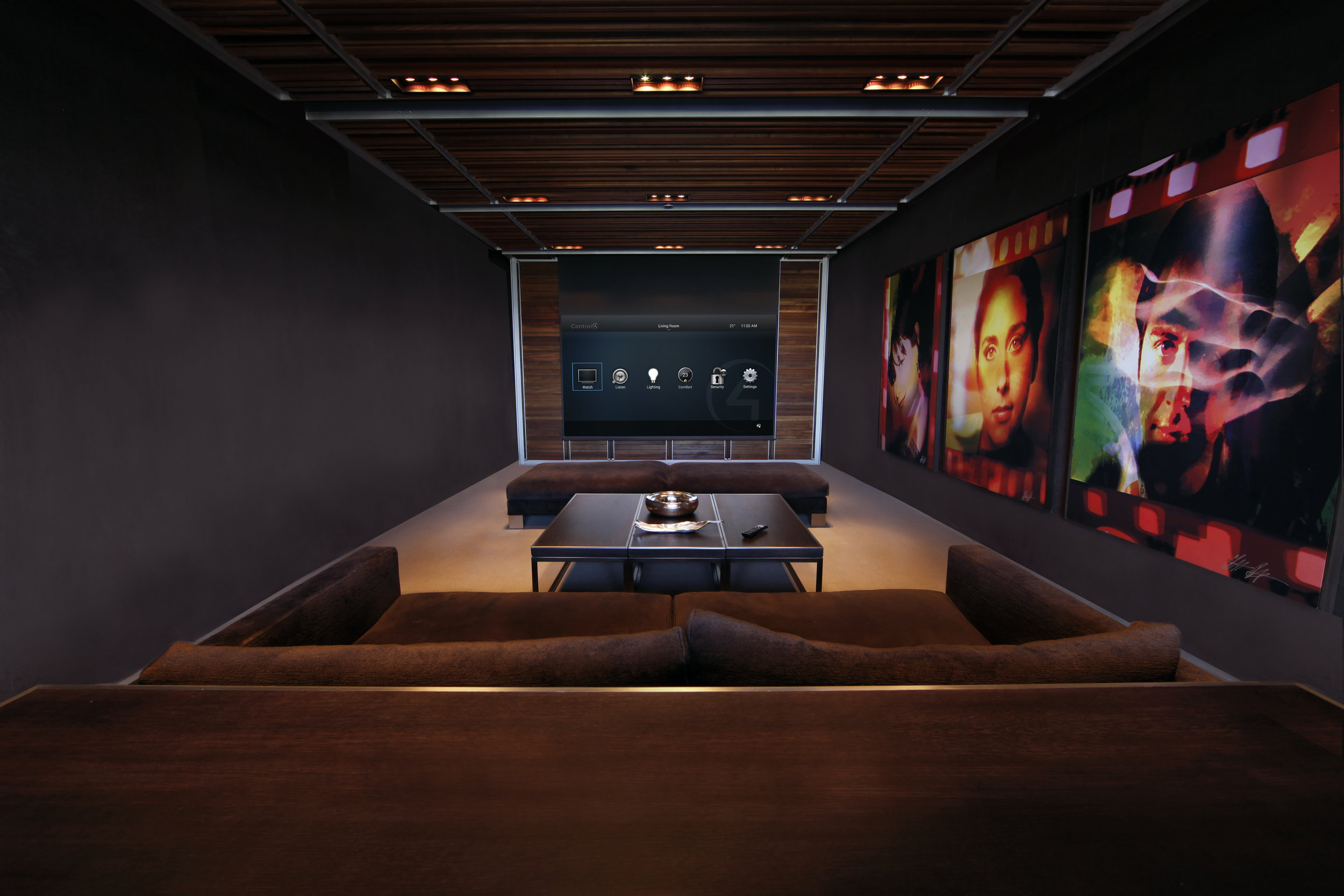 Home_Cinema_Apartment_Control4_navigator_Epson_Projector_Brown_leather_seats_Onslow_Gardens_SW7