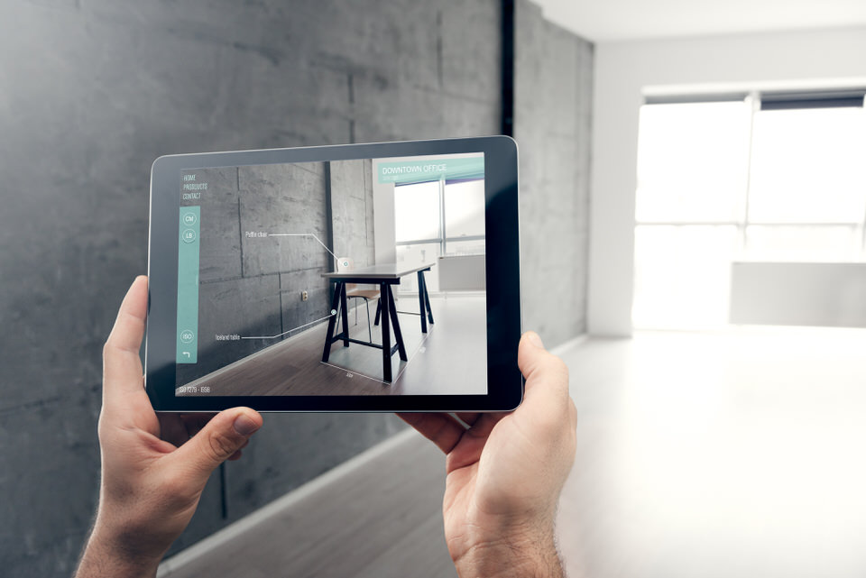 Augmented_Reality_iPad_contemporary_Living_area_desk_wooden_floor_Grey_slate_walls