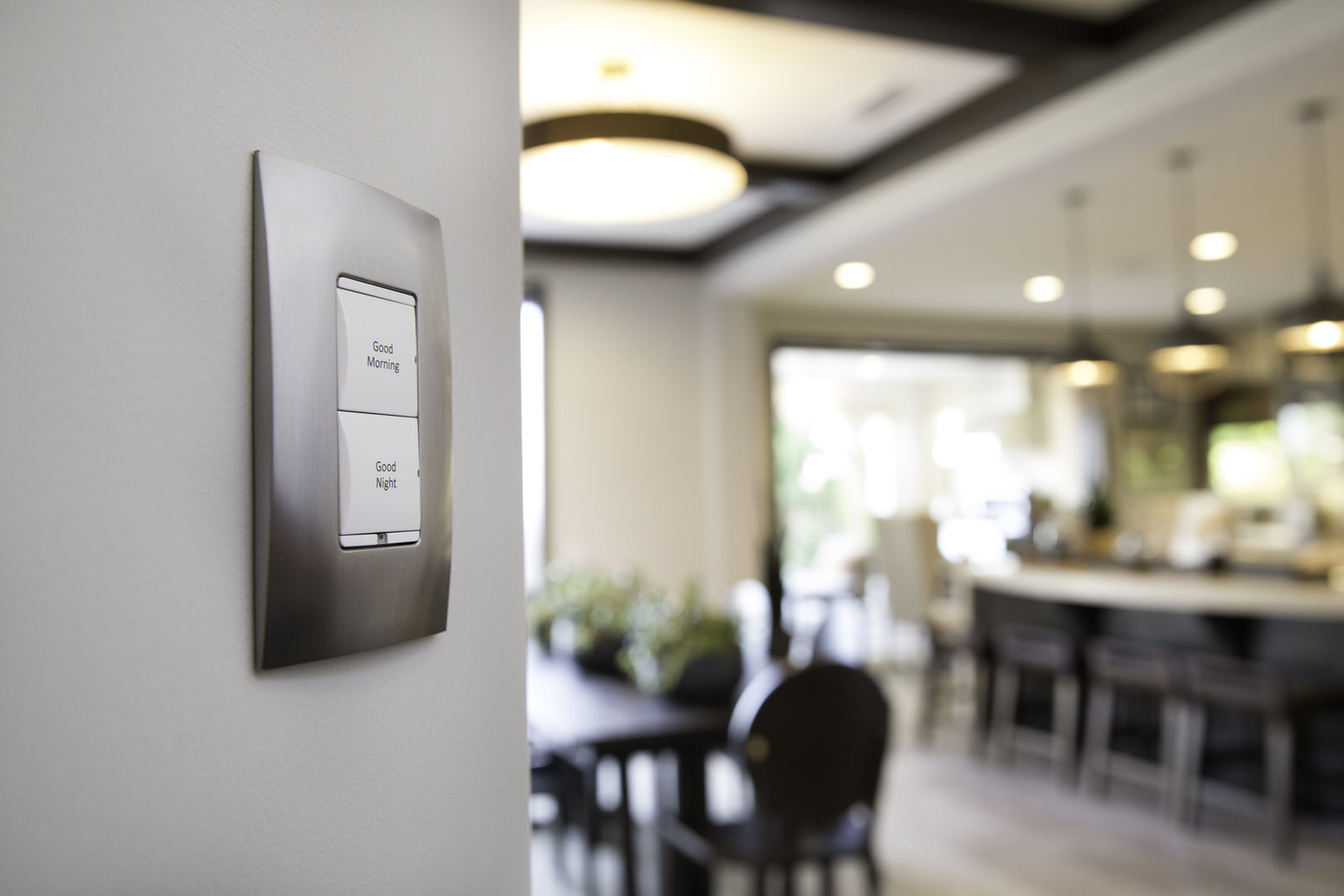 Control4_Lighting_Switch_Kitchen_Good_Morning_Evening_White_Buttons_Chrome_Faceplate
