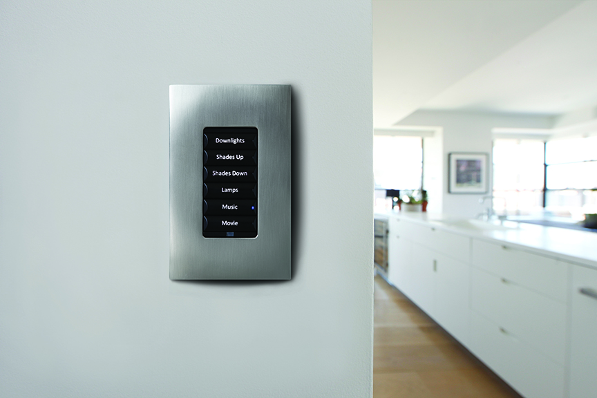Control4_Lighting_Keypad_Black_Buttons_Chrome_Faceplate_Kitchen_White_Worktop_Brown_Floor_Shades