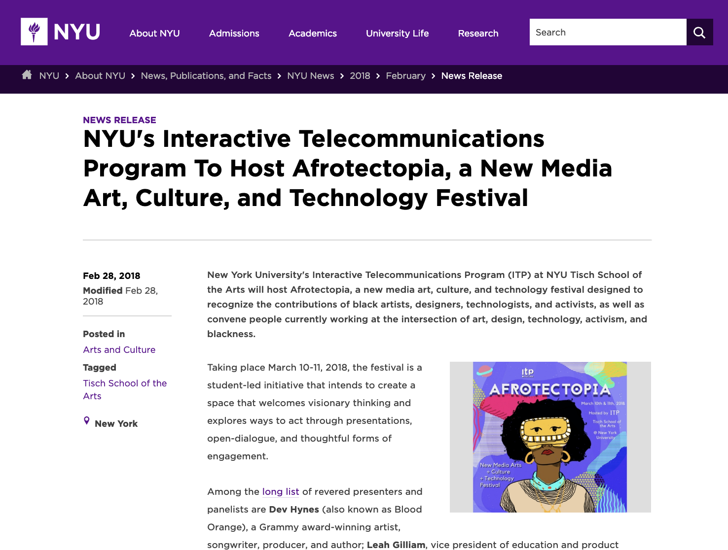 Press Release by New York University - March 2018