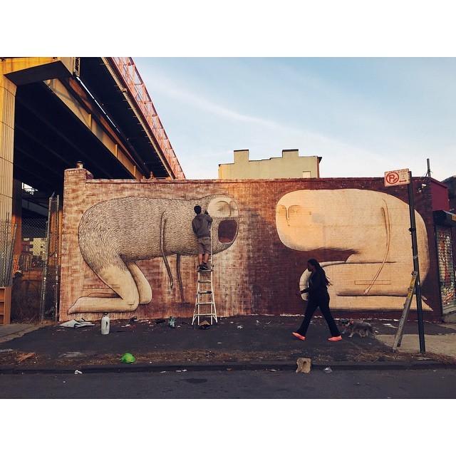 Street art in the making #southwilliamsburg #brooklyn #streetart #graffiti #nyc #nycmoments #instabest #instagood #vsco #vscocam  (at South Williamsburg, Brooklyn)