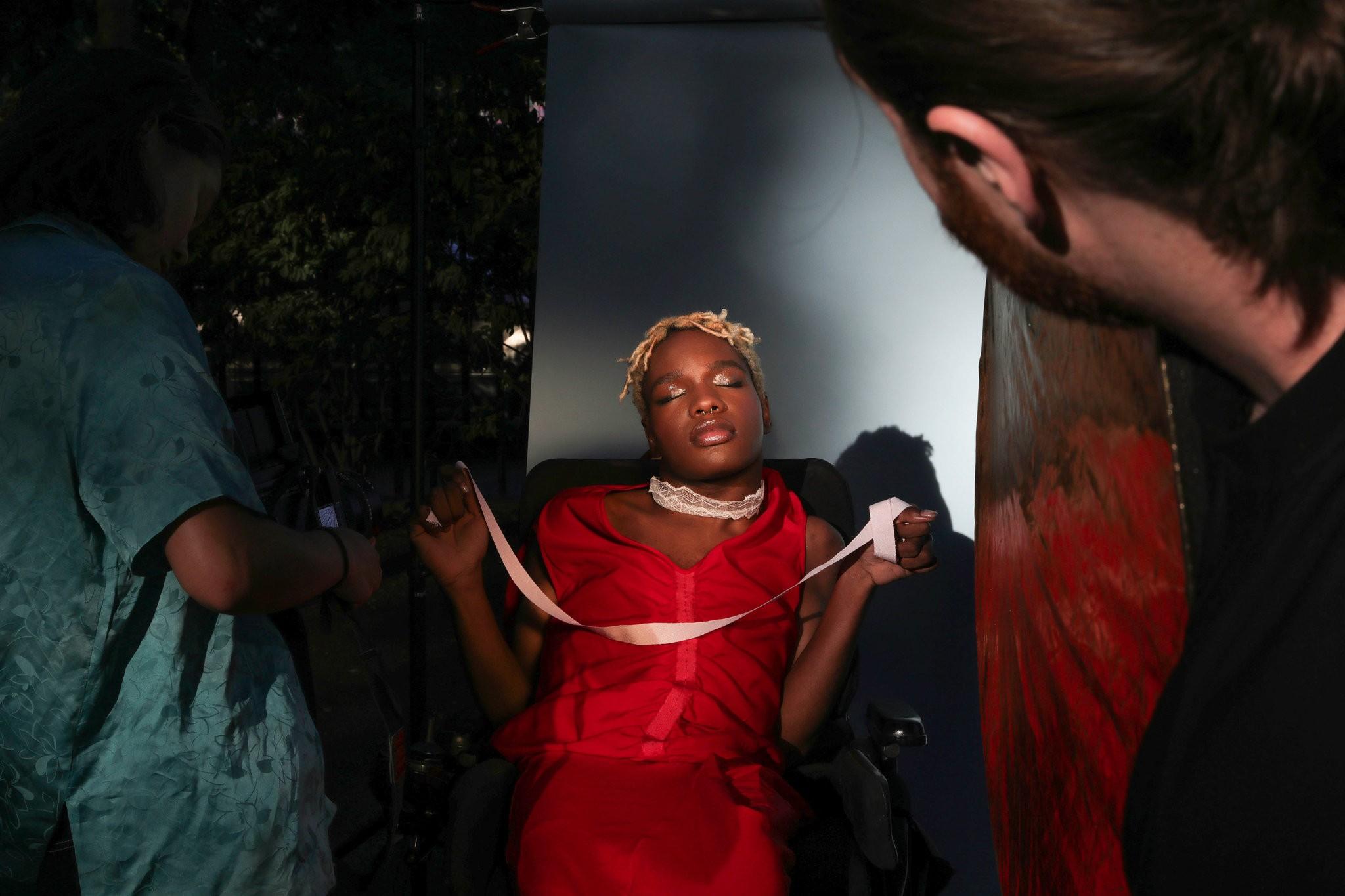 Aaron Philip poses at a photo shoot at McCarren Park in Brooklyn. Credit: Gabriella Angotti-Jones/The New York Times