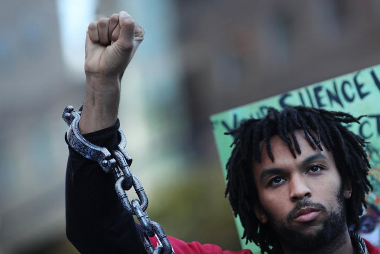 Glenn Cantave protesting in October (Photo by Spencer Platt).