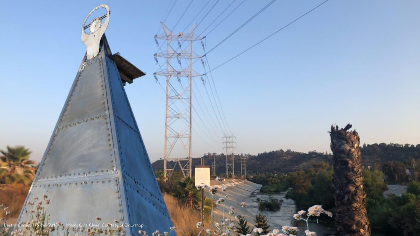 "Beatriz Cortez, ""Bowtie Project,"" Placed at distinct points along the L.A. river, the works deal with urban redevelopment, environmental issues, untold Native histories, and patterns of gentrification. (Beatriz Cortez / Beatriz Cortez)"